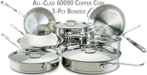 All-Clad Copper Core Cookware Set Safest Without Aluminum (60090 & 14 pieces)