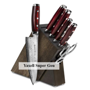 Yaxell Super Gou 7 Piece Dark Ash Slim Knife Block Set