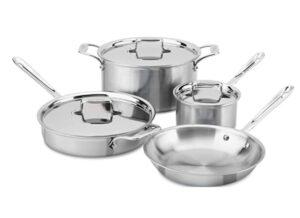 All-Clad D5 Brushed 5-Ply Bonded Dishwasher Safe Cookware Set, 7-Piece